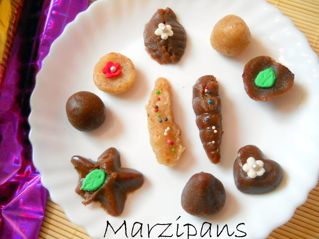 Marzipan, Marzipan Recipe, Easy Marzipan Recipe, Marzipan Recipe Almond paste:Marzipan have been my favorite since childhood. I have always been eating Marzipans during easter and Christmas. Especially I used to thrive on the marzipan  served on the platter when we used to visit family, friends during occasions. My mother never made marzipans as she used to make other sweets during easter. This time I decided to make marzipans along with easter eggs at home. Turned out quite neat and delicious. I have wrapped marzipans for give aways during  easter.