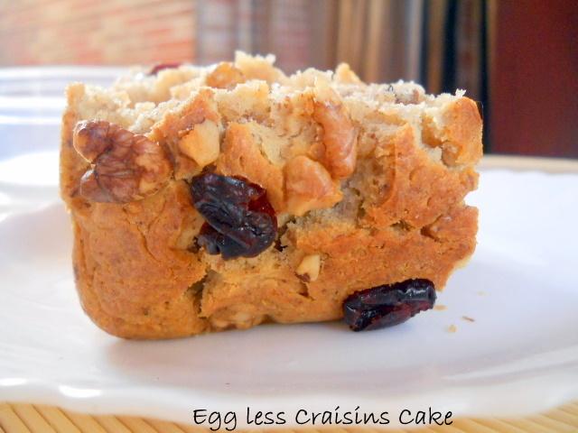 Eggless Craisins Cake