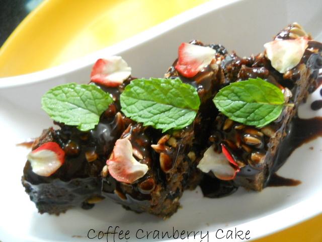 Eggless Coffee Cranberry Cake