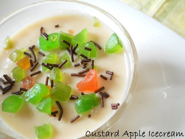 Easy Custard Apple Icecream, How to make Custard Apple Icecream Recipe