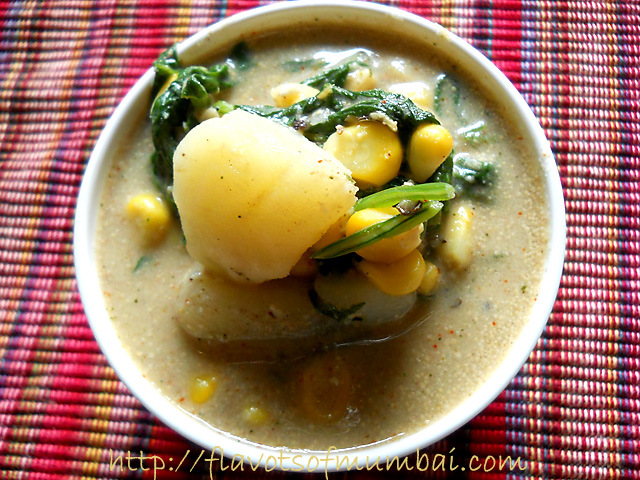 How to Make Corn Spinach Curry  Corn Spinach Curry