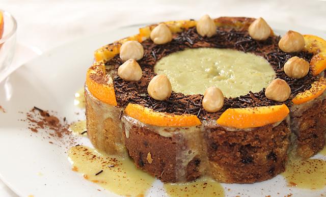 Eggless Orange Chocolate Marble Cake Frosting, Eggless Orange Chocolate Cake