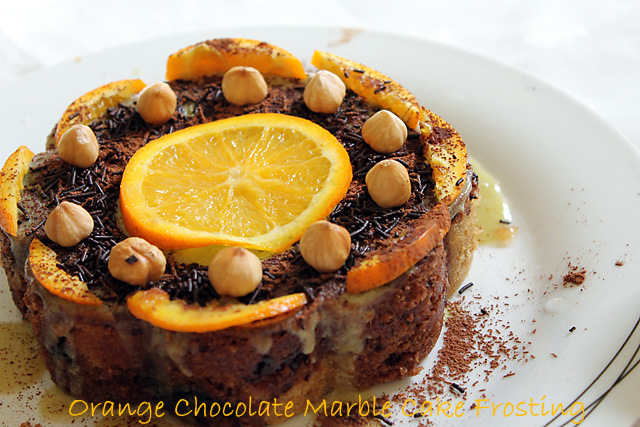 Eggless Orange Chocolate Marble Cake Frosting, Eggless Orange Chocolate Cake