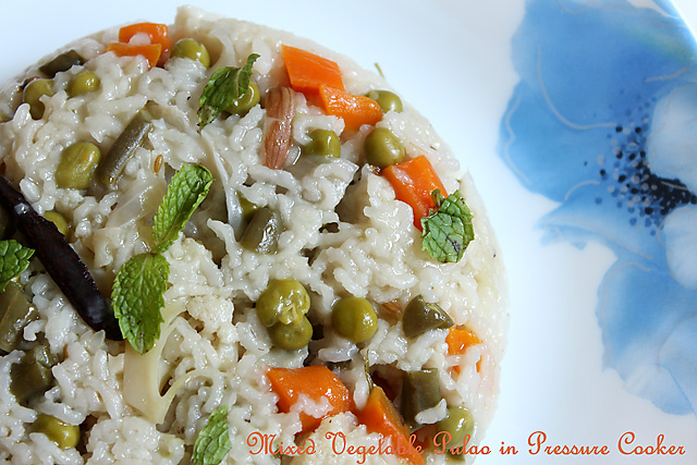 Mixed Vegetable Pulao in Pressure Cooker