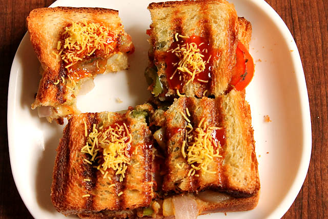 Mumbai Masala Toast Sandwich, Veg Masala Toast Sandwich Recipe