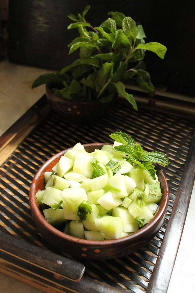 Cucumber Mint Salad, How to make Cucumber Mint Salad:Days when I have to make something quick with my meals Or dinner I make my Cucumber Mint salad. Only few ingredients and refreshing Cucumber Mint salad is ready. This salad is cool, light and goes well when clubbed with burgers, sandwiches, biryani, pulao, khichdi Or fish. It's getting warmer so it's time to eat light, healthy and refreshing food.