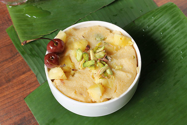 Vegan Sooji Halwa, How to make Vegan Sooji Halwa with Pineapple and Pistachios:Simply delicious Vegan Sooji Halwa with pineapples and pistachios! Sooji halwa / Sheera/ Ravai / Semolina Pudding is a famous dessert made in India. It's almost made in all household with different variation. Mostly sooji halwa is made with ghee (clarified butter) and milk. I have made this in a vegan version. Instead of ghee used coconut oil and instead of milk have used almond milk.