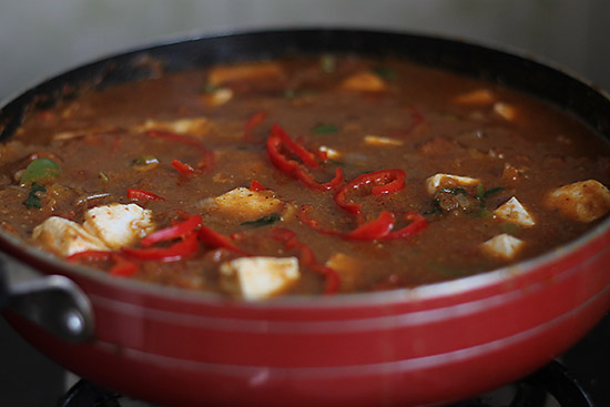 cooking kadai paneer