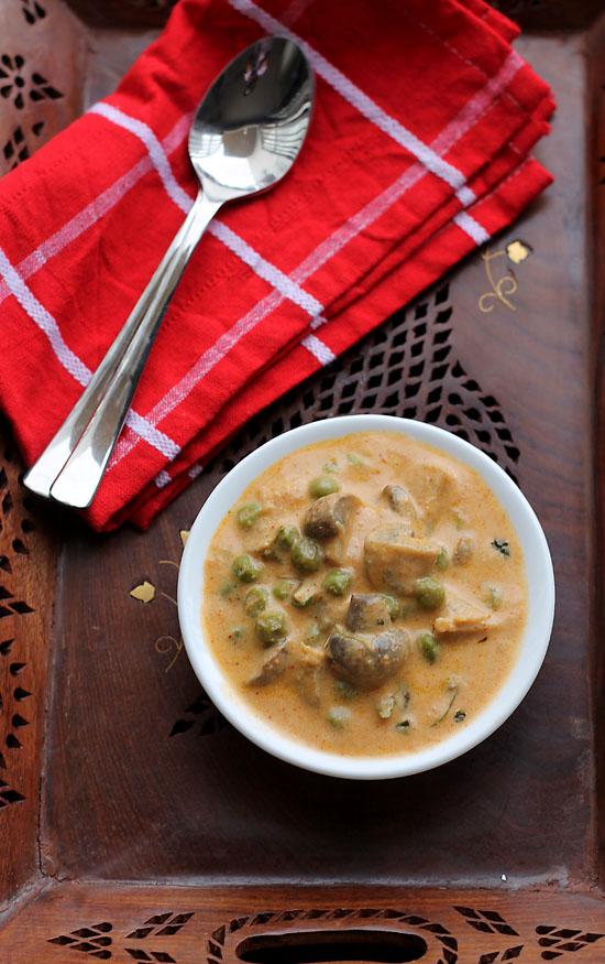 Mushroom Makhani Recipe, Mushroom Matar Makhani Recipe