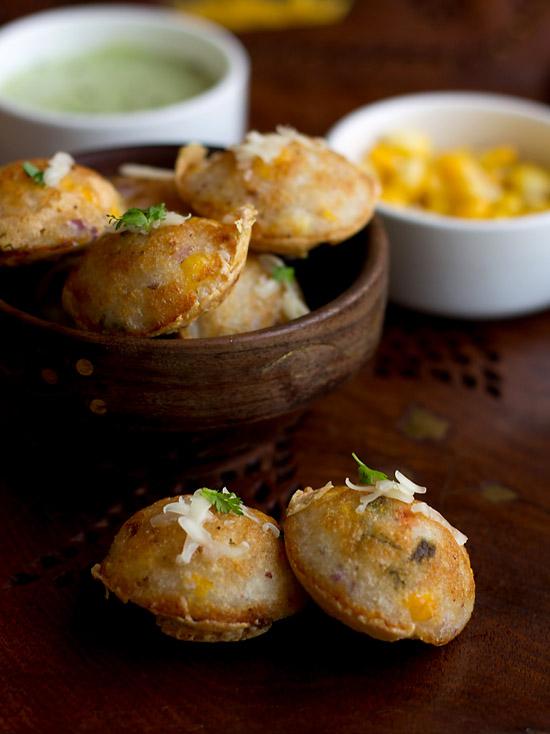 Masala Paniyaram With Cheese And Corn Recipe, Masala Paniyaram Recipe