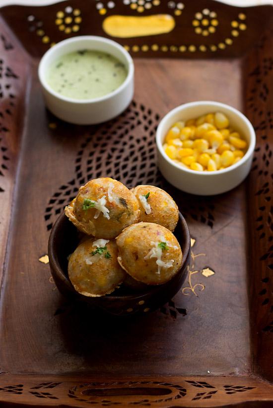 Masala Paniyaram with cheese and corn recipe