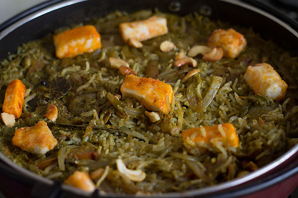 Palak Paneer Rice or Pulao